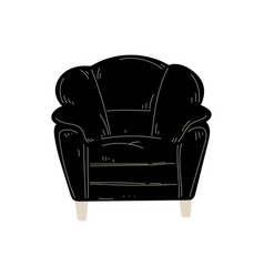 Comfortable black armchair cushioned furniture vector