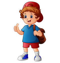 cute boy in hat and backpack giving thumbs up vector image