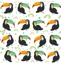 Cute Cartoon toucan birds set on white background vector