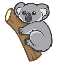 Cute koala on a tree vector