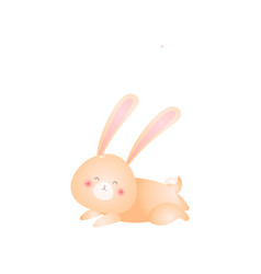cute rabbit lying on his stomach isolated on white vector image