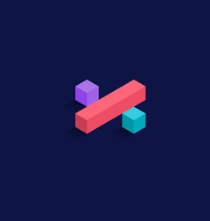 Division sign math isometric colorful cubes 3d vector