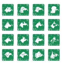 Dog icons set grunge vector