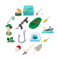 fishing cartoon icons set vector image