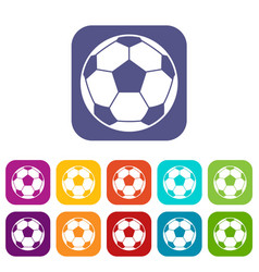 Football soccer ball icons set flat vector