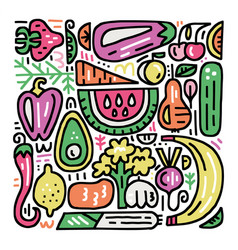 Fruits and veggies set vector