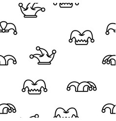 funny jester hat linear seamless pattern vector image