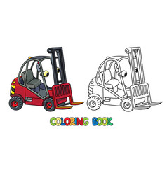 funny small forklift truck or loader car with eyes vector image