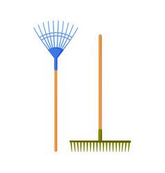Garden rakes agriculture work equipment farming vector