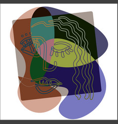 girl face in cubism outline style on a abstract vector image