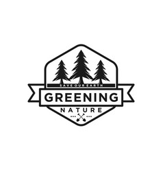 Greening pine tree logo outdoor forest nature vector