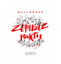 halloween hand drawn zombie party poster or flyer vector image
