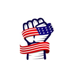 Hand and flag usa template design vector