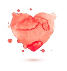 Hand draw watercolor aquarelle art paint love red vector