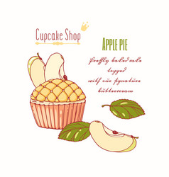 Hand drawn apple pie cupcake vector