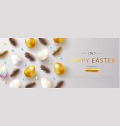 happy easter holiday web banner vector image