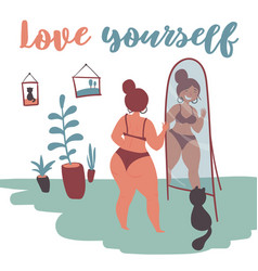 happy plus size girl and cat looks in the mirror vector image