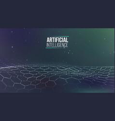 Hexagonal background blue ai future technology vector