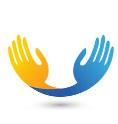 Hopeful hands unity icon logo vector