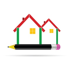 house with pencil vector image