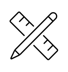 linear simple pencil with ruler icon vector image
