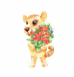 little puppy with a bouquet of roses birthday vector image