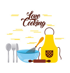 love cooking flat vector image