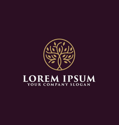 luxury tree logo design concept template vector image