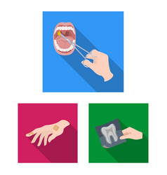 Manipulation hands flat icons in set collection vector
