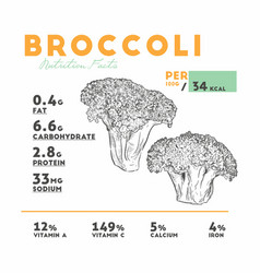 nutrition facts of broccoli vector image