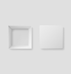 open and closed box with top view mockup white vector image