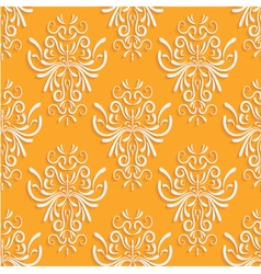 Orange Seamless Background with 3d Floral Pattern vector