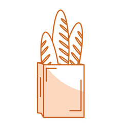 Paper bag for bread french vector