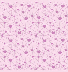 pastel pink web of hearts seamless repeat pattern vector image