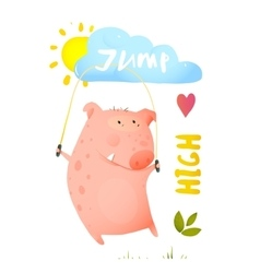 Pig jumping rope for children vector