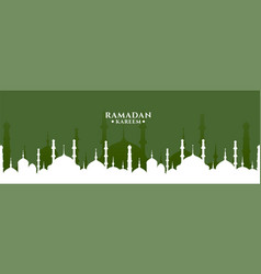 Ramadan kareem greeting with mosque design banner vector