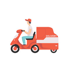 red delivery tricycle with courier express vector image