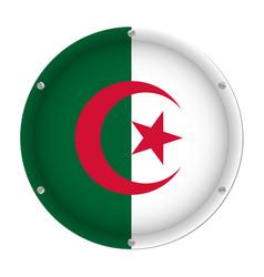 round metallic flag of algeria with screws vector image
