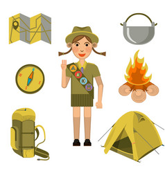 Scout girl showing honor hand sign and equipments vector