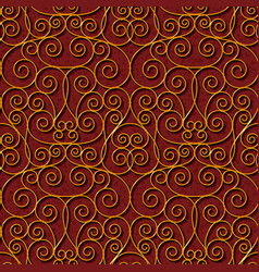 Seamless floral dark red damask pattern background vector