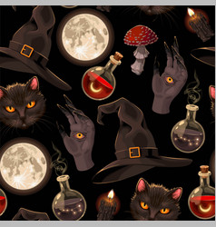 seamless pattern with witch hats and moon vector image