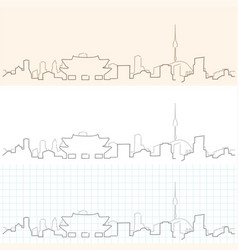 seoul hand drawn skyline vector image