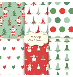 set christmas seamless patterns 2 vector image