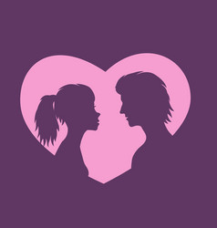 silhouettes girl and guy on background pink heart vector image
