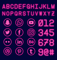social media and number with neon effect vector image