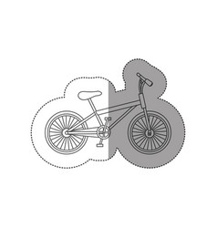 Sticker contour of small sport bike icon flat vector