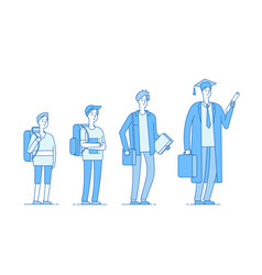 Student growing college students growth stages vector