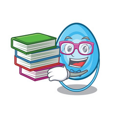 student with book oxygen mask mascot cartoon vector image