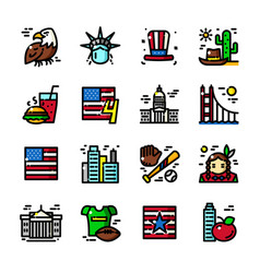 thin line usa icons vector image