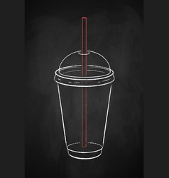 Transparent disposable takeaway coffee cup vector